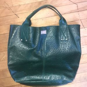 DVF Addison embossed ostrich leather tote